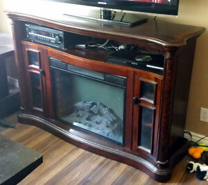Media Stand with Fireplace Insert