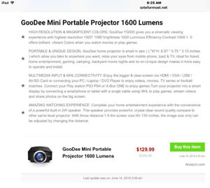 Mini portable projector with Remote only $75