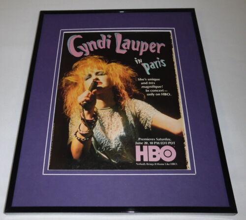 Cyndi Lauper in Paris 1987 HBO 11x14 Framed ORIGINAL Advertisement