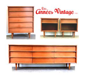 Ensemble 4 mcx Noyer Vintage Walnut bedroom set 1960