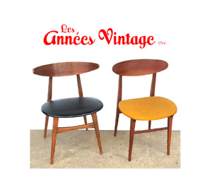 Chaises Vintage Noyer Teck 1960 Walnut Teak chair Mid Century
