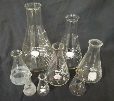 8 Pcs. Lotset Of Pyrex Kimax Lab Flasks 1000ml-25ml Erlenmeyer