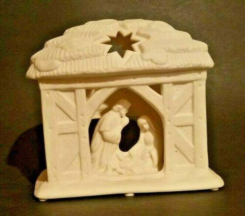 Party Lite O Holy Night Manger Scene Bisque Porcelain Candle Holder