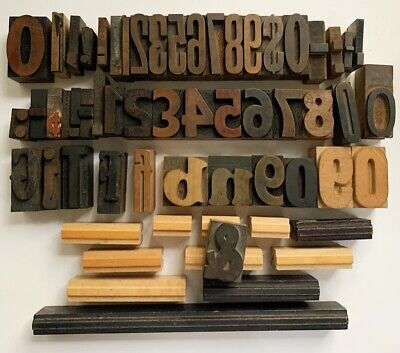Vintage Wood Letterpress Print Block Letters Numbers Ampersand Punct. Border