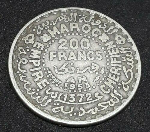 Morocco Marokko 200 Francs Mohammed V 1953 AD 1372 AH Silver Alawite Coins