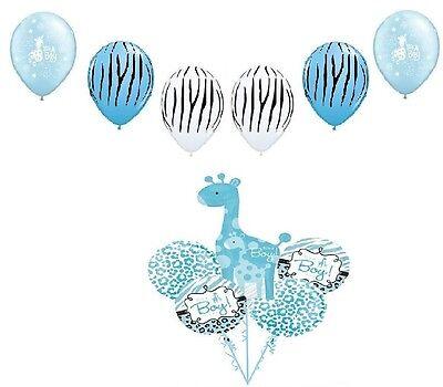 GIRAFFE It's a Boy Sweet Safari Jungle Baby SHOWER 11 Mylar & Latex Balloons Set
