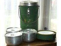 Vintage Green Thermos Food or Soup Flask Complete with its Original Canisters Tiffin Tin