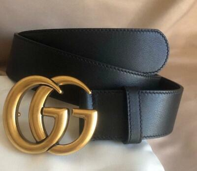 Authentic Genuine Gucci Leather Black Belt with Double G buckle