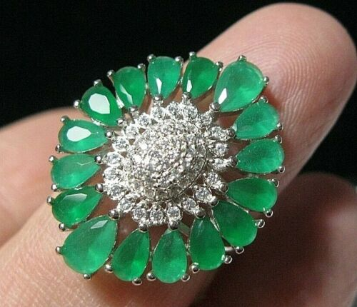 Beautiful Jewellery Sterling SILVER Green Chalcedony Topaz Gem Stone RING L 5.75