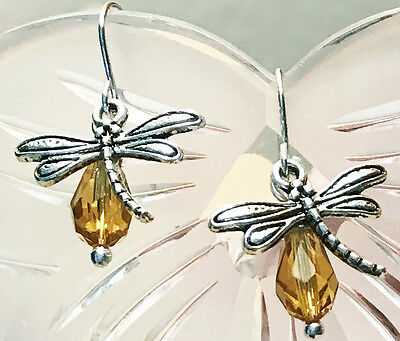 Outlander Silver Dragonfly In Amber Scottish Irish Gaelic Claire Fraser Earrings