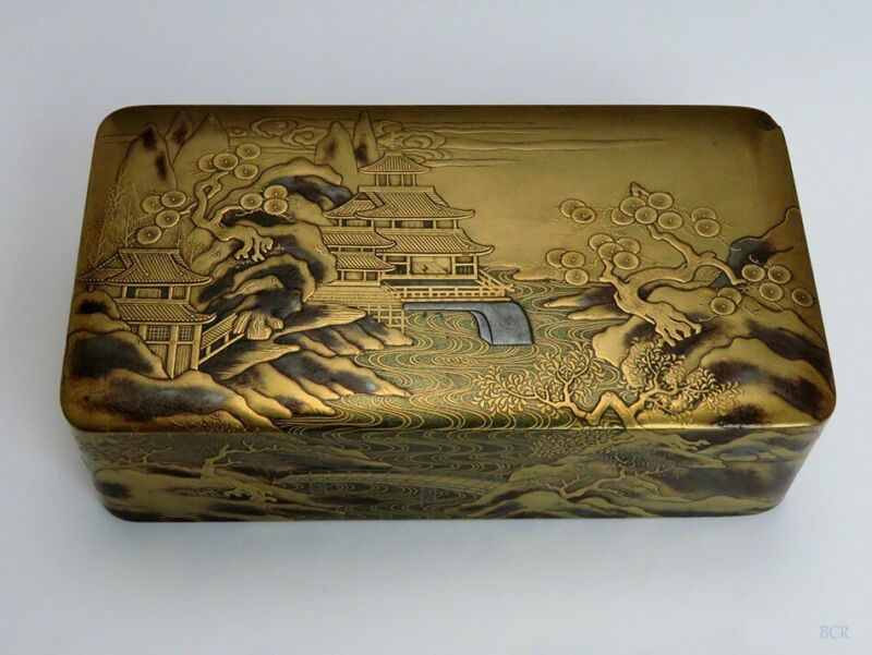 1860s-1890s Superb Japanese Meiji Makie Gilt Lacquer Box w River Scene