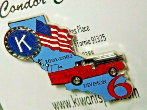 Kiwanis International 2000 2001 California Division 6 Lapel Pin Fire Truck Flag