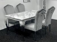Louis marble dining table set + 4 grey plush knocker back dining chairs