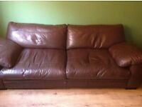 2 Brown Leather 2 Seater Sofa's