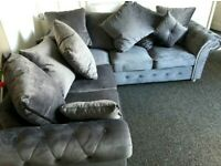v PREMIUM QUALITY PLUSH VELVET SOFA CORNER AND 3+2 SEATER SET
