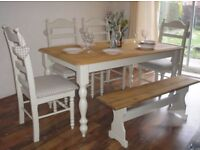 Stunning Shabby Chic Solid Oak 5ft Dining Table 4 Chairs & Bench - Farrow and Ball Off White No. 3