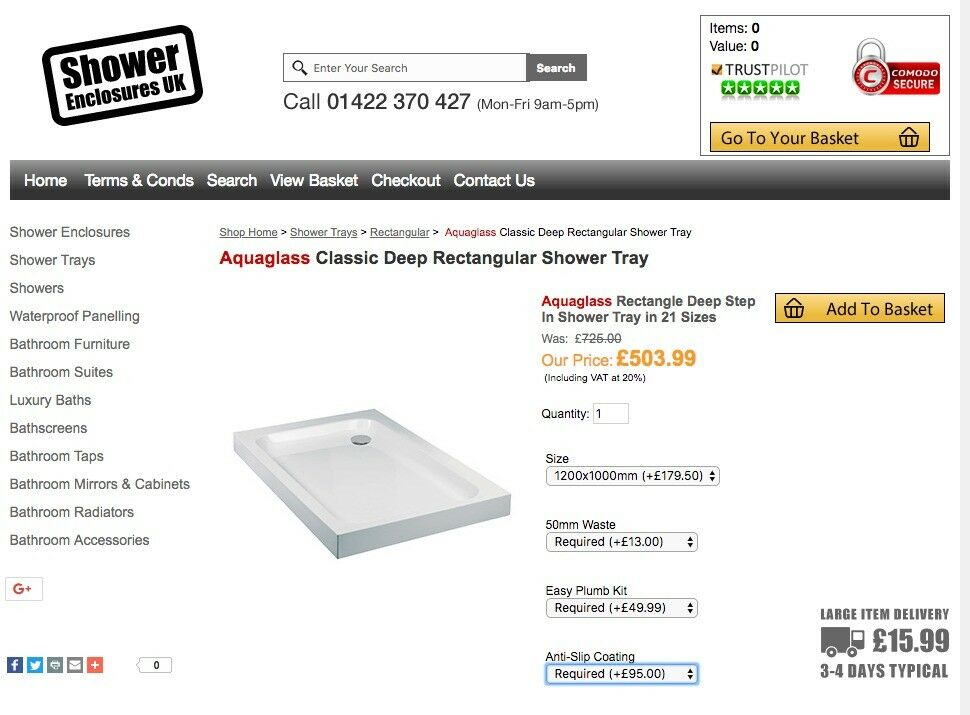 Aquaglass deep step shower tray 1200 x 1000 | in Richmond, London ...