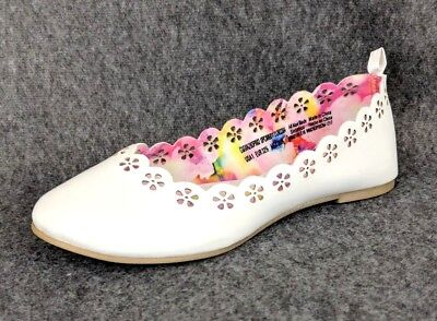 NEW - Wonder Nation Youth Girls White Casual / Dress Cut-out Ballet Flats  - White Girls Flats