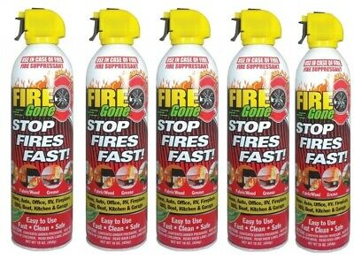 5 Pack Lot Fire Gone 16oz Can - Fire Extinguisher