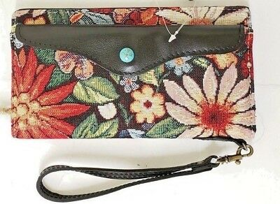 Patricia Nash Valentia Snap Wristle Leather Cotton Burton Tapestry Wallet NWT B7