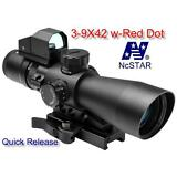 NcStar STP3942G/DV2 Mark III Tactical P4 Reticle 3-9X42 Scope with Red Dot Sight
