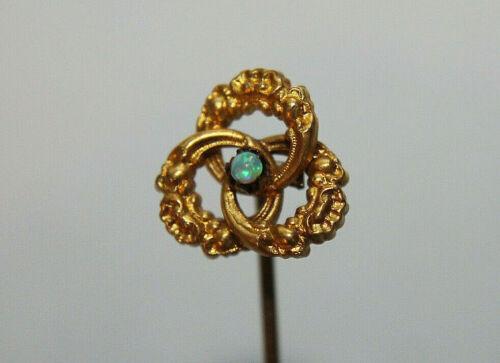 Antique Art Deco 10K Yellow Gold Opal Stick Pin