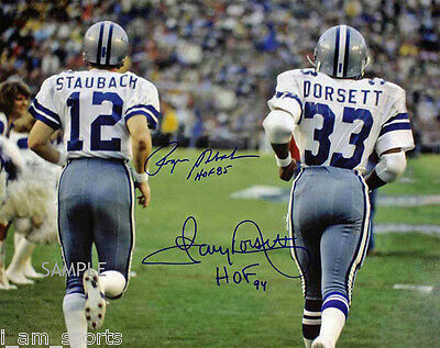 ROGER STAUBACH TONY DORSETT DALLAS COWBOYS HOF AUTOGRAPHED 8x10 REPRINT PHOTO RP