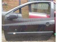 Renault Clio Left Side Front Door Black No Mirror 2009