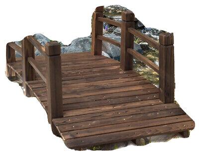Wooden Garden Bridge Lawn Décor Stained Finish Walkway Bridge
