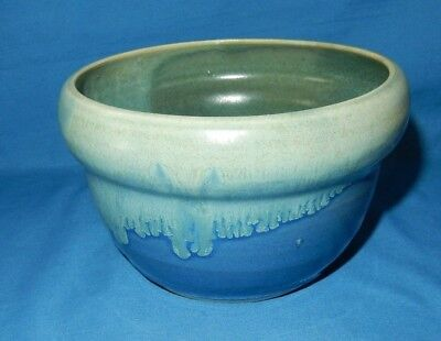 """5.75"""" Blue Green Drip Handthrown Pottery Soup Cereal Serving Bowl Leaf Signed EB"""