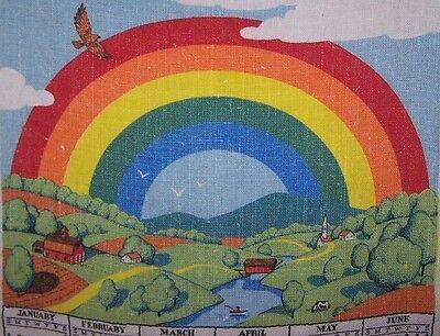 1983 ORIGINAL LINEN CALENDAR TOWEL-RAINBOW-POT OF GOLD-R B ARTIST