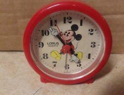 VINTAGE MICKEY Mouse Lorus Quartz Travel Alarm Clock Red Skirt WORKING PICS