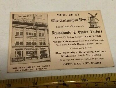 Vintage The Columbia Urn Restaurant Oyster Parlor New York Advertising Card Rare