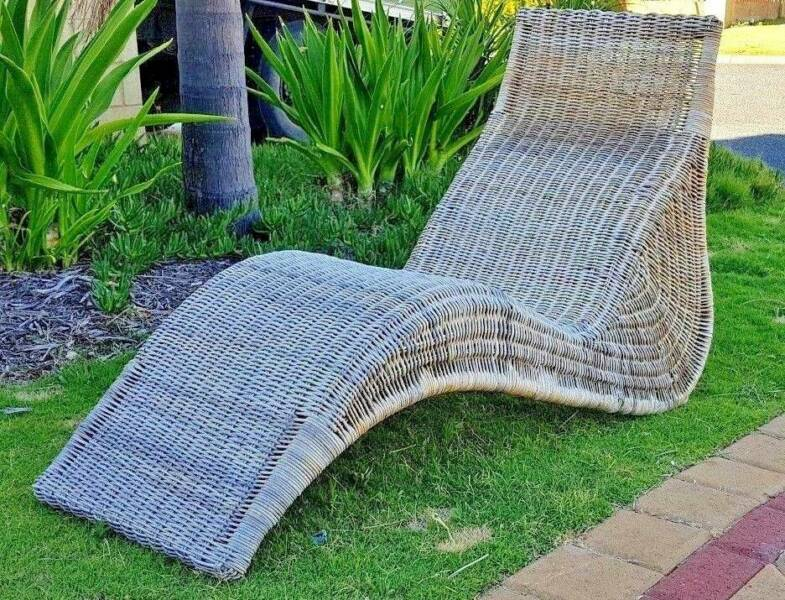 Chaise Lounge Rattan Sintetico.Vintage Cane Wicker Plantation Style Chaise Lounge Patio Chair