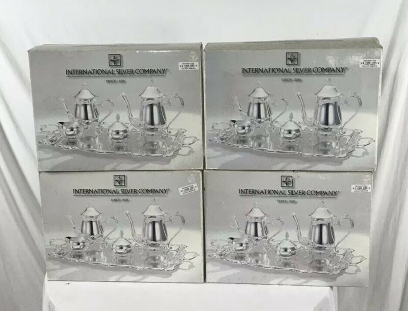 international silver company five piece coffee set new in box never used