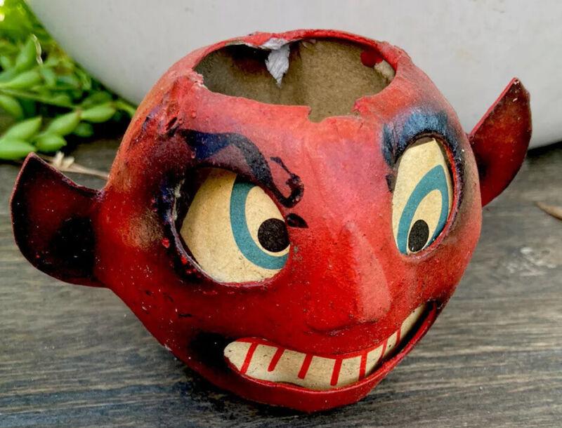 Vintage Halloween Paper Mache Devil Head Lantern with Paper Insert Germany