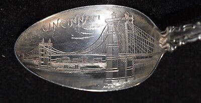 c1900 Sterling Souvenir Spoon Cincinnati OH Roebling Bridge