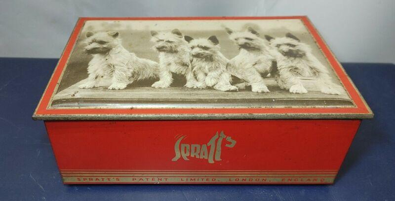 """Vintage SPRATTS Scottie Dog Biscuit Tin - 8 1/2 x 5 1/2 X 3"""" Patten Limited"""