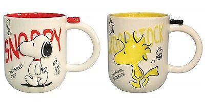 Peanuts 12 oz Ceramic Coffee Mug Set of 2 - Snoopy & Woodstock