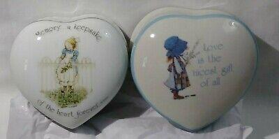 Vintage HOLLY HOBBIE Trinket Box Lot of 2 Porcelain Heart Boxes Jewelry Holder