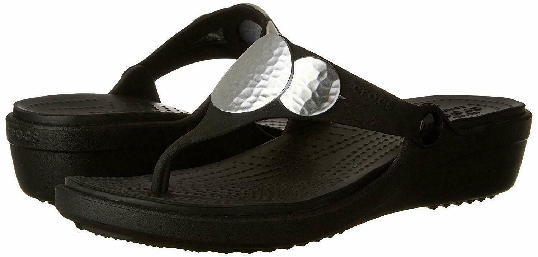 CROCS Women's Sanrah Embellished Wedge Flip Sandals Black Si