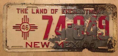 "1946 NEW MEXICO PASSENGER LICENSE PLATE "" 74 849 "" NM 46 ORIGINAL CONDITION"