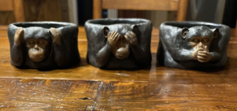 Three 3 Monkeys See Hear Speak No Evil Candle Holders For Large Candles (497-20)