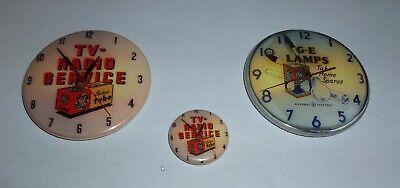 "2-Vintage Style Neon Advertising Clock Fridge Magnets 2 1/4"" + Bonus Pin"