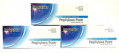 3x Prophy Paste Non-spaltter Medium Assorted Total Of 3 X 200cups By Mark3