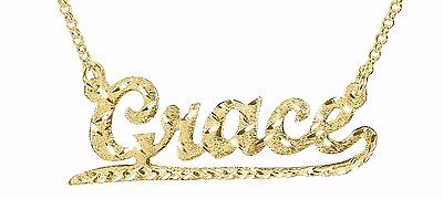 Custom Name Necklace - 24K gold-Plated Designers Cut | Brushed Diamond Cuts