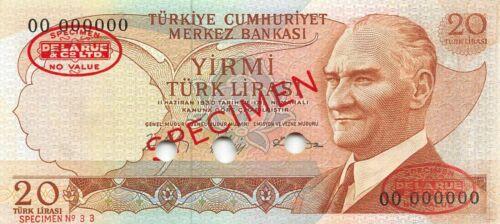 Turkey  20  Lira  L. 1970 / 1974  P 187s  Specimen  Uncirculated Banknote