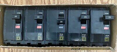 Box Of 5 Square D Qo220 2 Pole 20a Plug In Breaker - New Open Box