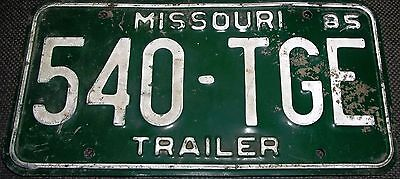 1985 Missouri trailer license plate, vintage_________4625/9 E