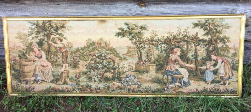"""Vintage Antique French Tapestry Gold Framed Countryside Farm Scene 21 x 60"""""""